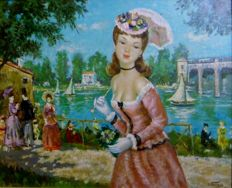 "Jean Valois ( French 19th - 20th Century )  - Elegants au Bois de Boulogne , Paris ,  oil on canvas , signed , inscribed: "" PARIS """