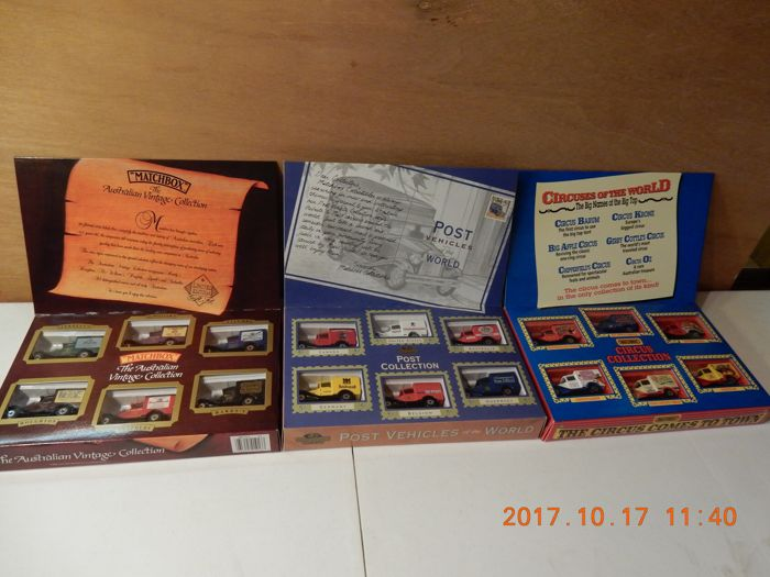 Matchbox - Schaal ca 1/55 - Kavel met 3 sets: MB 913 Australian Vintage Gift Set, MB 916 Postal Vehicle Collection & MB 915 Circus Collection