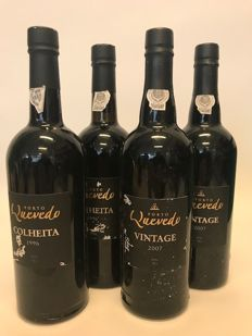 Quevedo Port Wine: 2x 2007 Vintage & 2x 1996 Colheita bottled in 2010 - 4 bottles in total