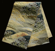 Authentic, silk obi - mountain landscape with blossom trees - Japan - 2nd half 20th century
