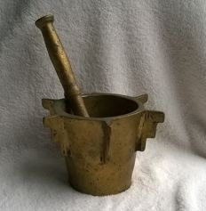 Antique cast bronze mortar with matching bronze pestle, very large model
