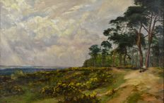Charles Smith (Act. 1857-1908) - A heathland view with figure