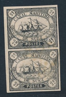 Suez Canal Company 1868 - 1  cent  black in pair - signed Calves