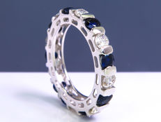 1.80 Ct full eternity diamond & sapphire ring - Size: 51 - NO Reserve!