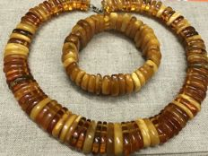 Set of natural Antique Baltic Amber necklace and bracelet , weight 112 grams