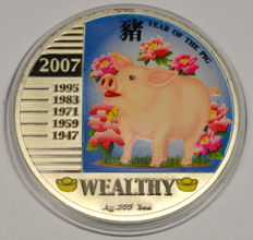 Niue - 1 Dollar 2007 'Year of the Pig' - 1 oz silver