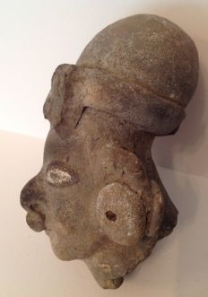 Pre-Columbian Tumaco-La Tolita head of a dignitary with deformed skull - Ecuador - 8 cm