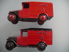"Dinky Toys - Scale 1/43 - 2 x Postal vans ""Van Royal Mail"" No34 B, before and after war"