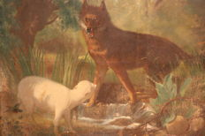 Antique French painting depicting a wolf with a lamb, 19th century