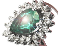 Golden Cluster Emerald Pear and Diamond Ring