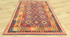 Double face Amazing Afghan Oriental Large Handwoven Ghazni Wool Large Kilim Area Rug 293 cm x 194 cm