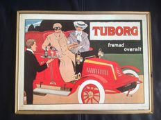 Tuborg beer advertising with image of a classic car - 1970s