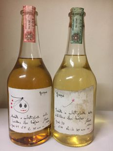 1994 & 1996 Grappa Romano Levi Serafino X 2 bottles 70 cl with the famous handmade labels