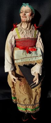 Antique Christmas creche figurine - polychrome terracotta - Naples, Italy - early 19th century