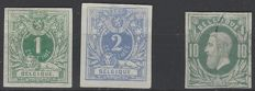 Belgium - Reclining lion with coat of arms, 1 c green and 2 c ultramarine - imperforate - OBP 26, 27 and 30