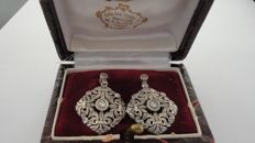 """Diamond Earrings 0.60ct, 19.2kt gold and silver XIX century, 9.26g, """"No reserve price"""""""