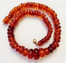 Art Deco necklace from facetted, hand-cut amber in honey brown from Silesia, 117g