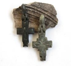 Two Medieval Reliquary (double cross) Pendants with Silver Inlay - 42 x 18 mm / 45 x 20 mm.