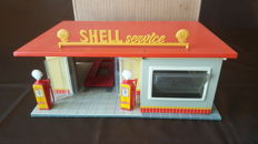 "TippCo, Western Germany - Dimensions 34 x 22.5 x 16 cm - tin garage ""Shell Service"", 1950s"
