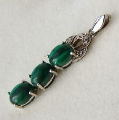 Antique Handcrafted pendant with 3 Malachite stones and small 8/8 cut diamonds