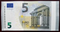European Union - FRANCE   UC - 5 euros 2013 - Dragi signature - White stripe on obverse missing Hologram - Error Note