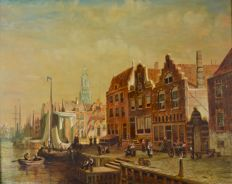 Richard Temple (19th/20th century) - A Dutch harbour scene with figures