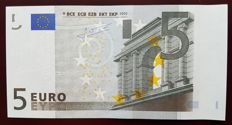 European Union - SPAIN   V - 5 euros 2002 - TRICHET  signature - White stripe on obverse missing Hologram - Error Note