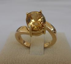 4.98 ct IGI Certified Zircon with FINE COLOR QUALITY in New Ring of  14K Solid Yellow Gold  -  Total Ring Weight 7,20 Gram