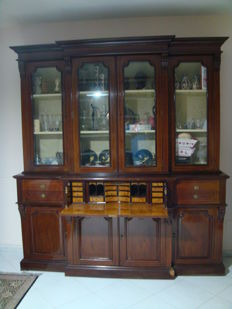 English-style large sideboard with fall-front desk in inlaid solid mahogany - second half of the 20th century
