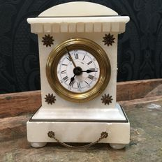 French alarm clock - antique alabaster - early 1900