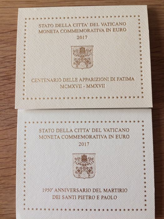 """Vatican - 2 euro, 2017, """"Fatima""""; and 2 euro, 2017, """"St. Peter and St. Paul"""""""