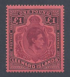 Leeward Islands 1938  - King George VI £1 Brown Purple & Black - Stanley Gibbons 114