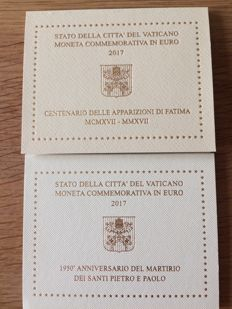 "Vatican - 2 euro, 2017, ""Fatima""; and 2 euro, 2017, ""St. Peter and St. Paul"""