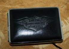 Cigarette case - Harley Davidson - genuine black leather