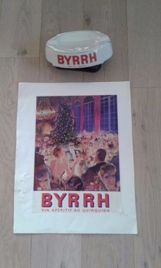 Advertising Byrhh vin aperitif (liqueur) and Byrhh ashtray - France 1950s-70s