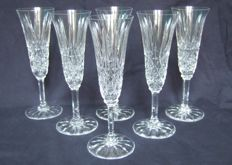 St. Louis - 6 cut-crystal champagne flutes, Tarn model, France, 1960s