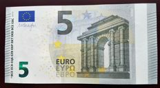 European Union -ITALY   SC - 5 euros 2013 - Dragi signature - White stripe on obverse missing Hologram - Error Note