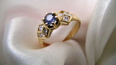 Sapphire brilliant ring 750 gold without reserve price