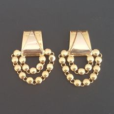 18 kt Long earrings of bi-colour gold with small beads - Length: 3 cm - Weight: 10.5 g