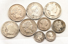 Spain - Isabel II - Lot - 9 silver coins - Barcelona and Madrid