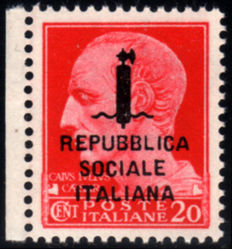 Italy 1944 – RSI overprinted in error, 20 cent. –  Sass. No. 495/A