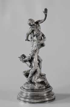 "Sculpture ""Il Ratto delle Sabine"" depicting ""The rape of the Sabine Women"", unidentified Silversmith, Italy 20th century"