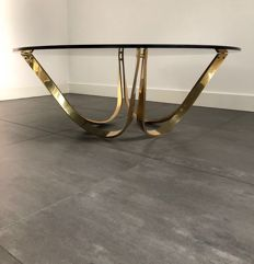 Roger Lee Sprunger for Dunbar - Brass coffee table with smoked glass tabletop