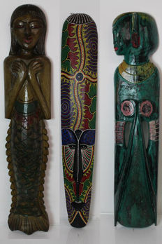 Lot of 3 - wall masks / sculptures - Asia / Africa