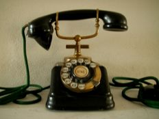 Antique black iron / copper phone Dutch. Circa 1950