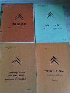 Citroen SM / DS / ID - Lot of 4 technical documents for steering, air conditioning and injection - Circa 1970