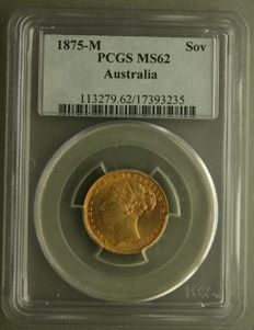 Australia - Sovereign 1875 (Melbourne), Victoria, in PCGS Slab - gold