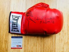 Mike Tyson & Evander Holyfield /  Original Signed Everlast Red Boxing Glove - with Certificate of Authenticity PSA/DNA