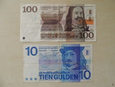 Netherlands - 10 guilders 1968 and 100 guilders 1970