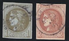France 1870 – Yvert 39A and 40B signed